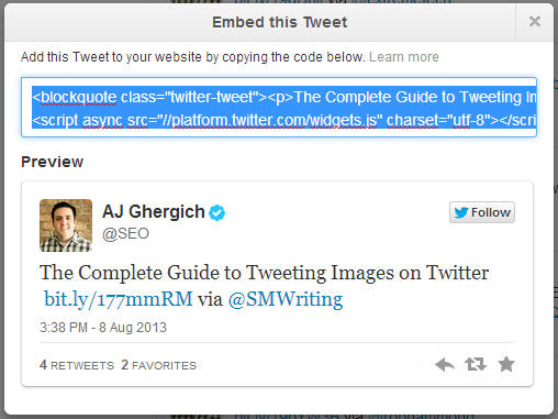 Embed Tweets on any website or blog