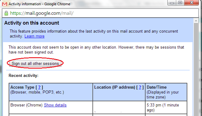 Remotely Log out Gmail for Web