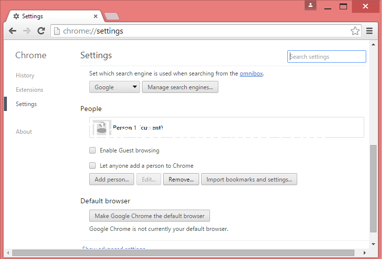 deleting the Current user from Google Chrome