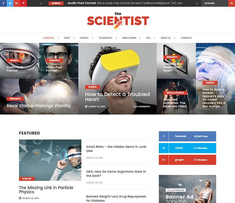 The Scientist WordPress Theme Free Download