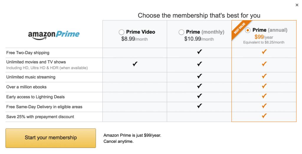 Amazon Prime Membership plans