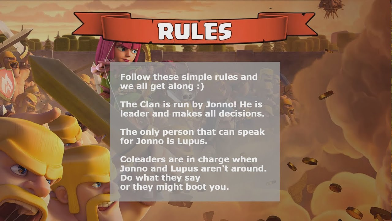 What are the rules of the clash of clans